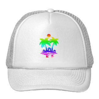 beach island houses rainbow invert png hats