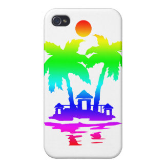 beach island houses rainbow invert.png iPhone 4/4S cover