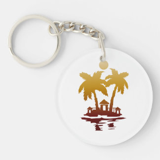 beach island houses sepia invert.png Double-Sided round acrylic keychain