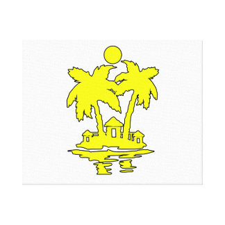 beach island houses yellow outline invert png gallery wrap canvas