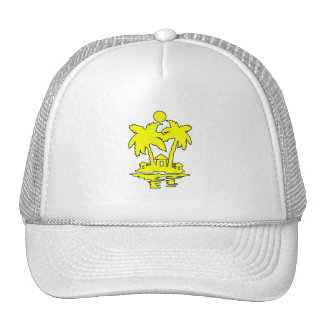 beach island houses yellow outline invert png hat