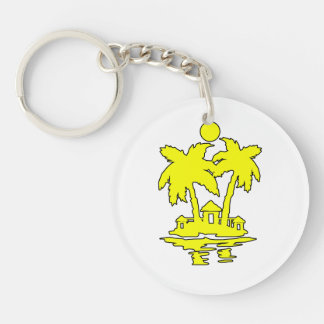beach island houses yellow outline invert.png keychain