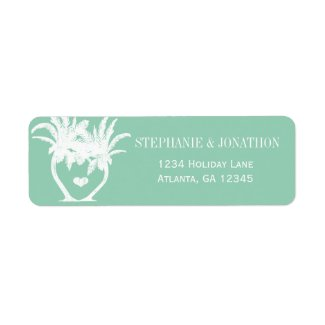 Beach Jaded Mint Palm Tree Destination Chalkboard Return Address Labels