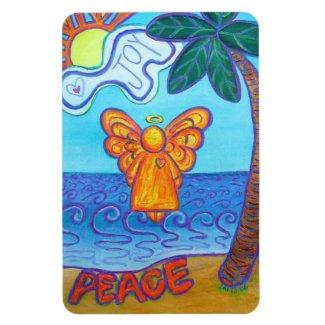 Beach Joy and Peace Angel Art Rectangle Magnets