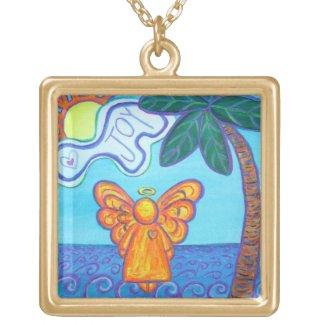 Beach Joy Angel Art Custom Pendant Necklace