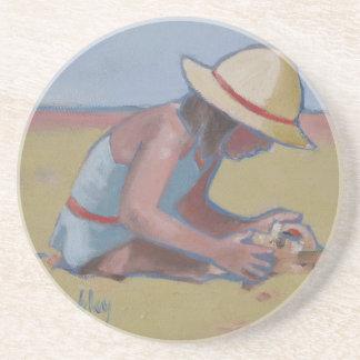 Beach Kid Cute little girl playing in sand Sandstone Coaster