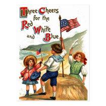 Beach Kids 4th of July Flag Vintage Postcard Art