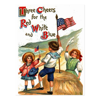 Beach Kids 4th of July Flag Vintage Postcard Art