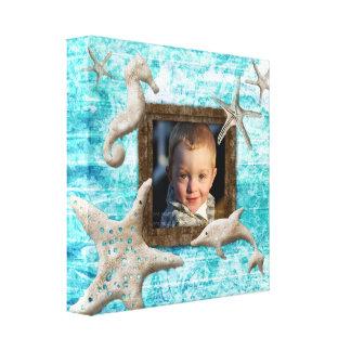 Beach Kids Canvas Print Photo Template Sea Blue
