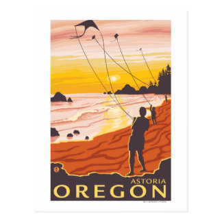 Beach & Kites - Astoria, Oregon Postcard