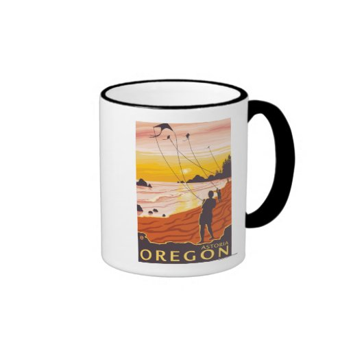 Beach & Kites - Astoria, Oregon Ringer Mug