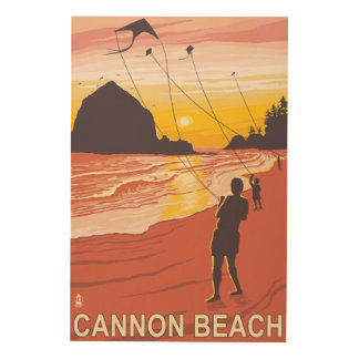 Beach & Kites - Cannon Beach, Oregon Wood Wall Art