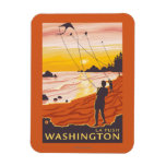 Beach & Kites - La Push, Washington Rectangular Photo Magnet