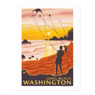 Beach & Kites - Long Beach, Washington Postcard