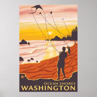Beach & Kites - Ocean Shores, Washington Poster