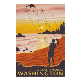 Beach & Kites - Ocean Shores, Washington Posters