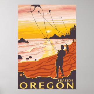Beach & Kites - Seaside, Oregon Posters