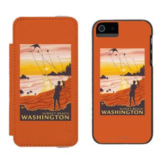 Beach & Kites - Sunset Beach, Washington Wallet Case For iPhone SE/5/5s
