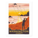 Beach & Kites - Washington Coast Postcard