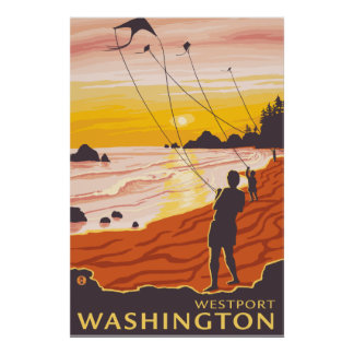 Beach & Kites - Westport, Washington Poster
