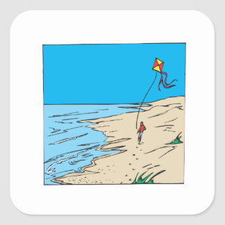 Beach Kiting Square Sticker