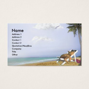 Beach Themed Beach Kitty Business Card