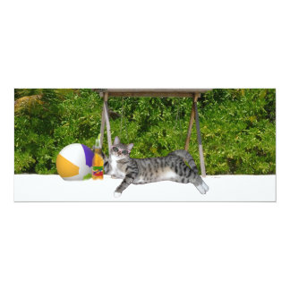 Beach Kitty on White Sands 4x9.25 Paper Invitation Card