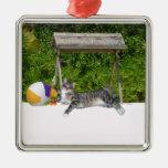 Beach Kitty on White Sands Ornament
