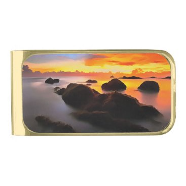 Beach Themed Beach Landscape at sunrise Gold Finish Money Clip