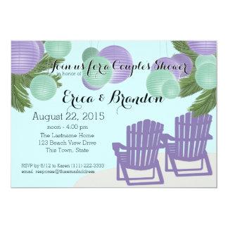 Beach Lanterns Couple's Shower 5x7 Paper Invitation Card