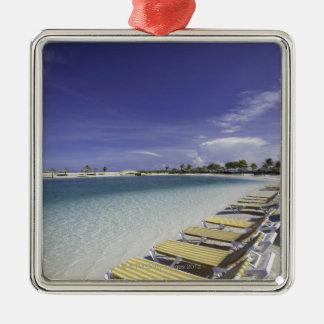 Beach lawn chairs tropical water metal ornament