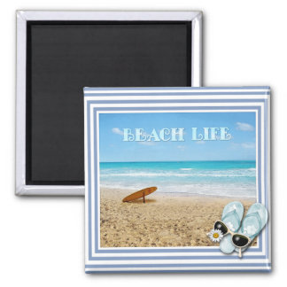 Beach Life 2 Inch Square Magnet