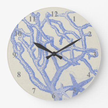 Beach Themed Beach Life Blue Coral Starfish on Cream Large Clock