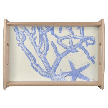 Beach Themed Beach Life Blue Coral Starfish on Cream Serving Tray