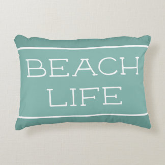 Beach Life Blue Green Sea Salt Accent Pillow