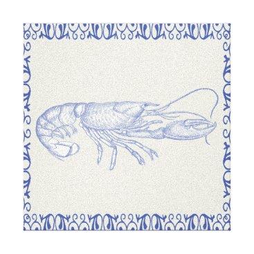 Beach Themed Beach Life Blue Lobster on Cream Canvas Print