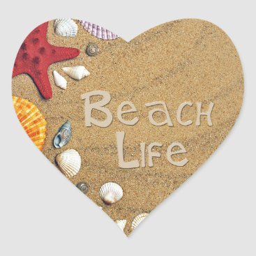 Beach Themed Beach Life Heart Sticker