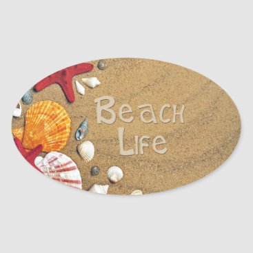 Beach Themed Beach Life Oval Sticker