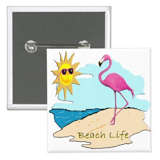 Beach Life Pinback Buttons