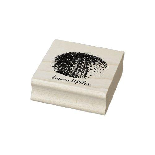 Beach Life Sea Urchin Custom Name Signature Wood Rubber Stamp