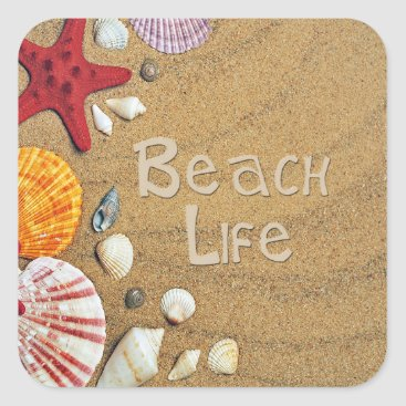 Beach Themed Beach Life Square Sticker