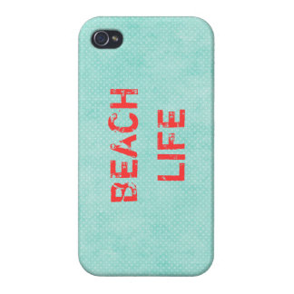 Beach Life: Teal and Coral Pink iPhone 4 Case