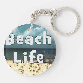 beach life with hdr chair beach umbrella.jpg keychain