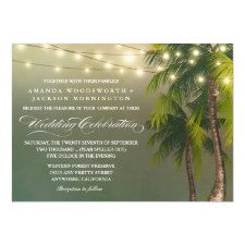 Beach Light Palm Tree Tropical Wedding Invitations