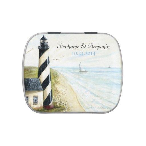 Beach lighthouse candy tin wedding favor zazzle
