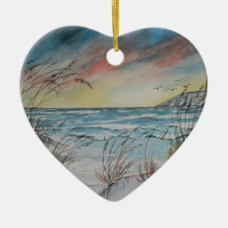 beach lighthouse ceramic ornament