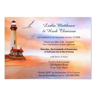 Beach Lighthouse Post or After Wedding Invitation