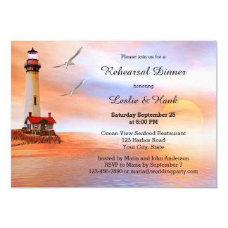 Beach Lighthouse Rehearsal Dinner Invitation