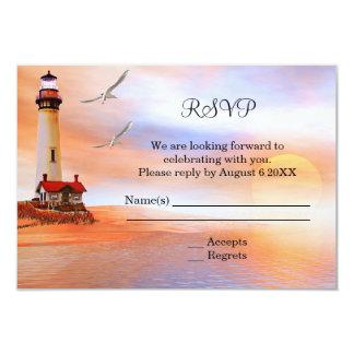"Beach Lighthouse Wedding Enclosure RSVP Invitation 3.5"" X 5"" Invitation Card"