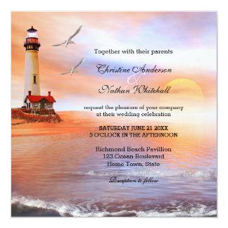 "Beach Lighthouse Wedding Invitation 5.25"" Square Invitation Card"